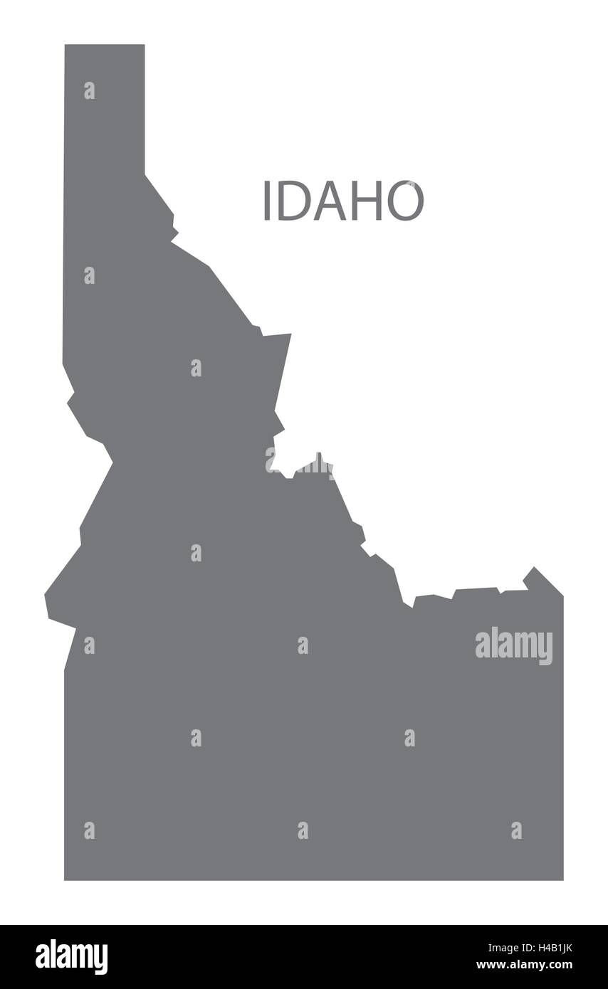 Idaho USA Map in grey - Stock Image