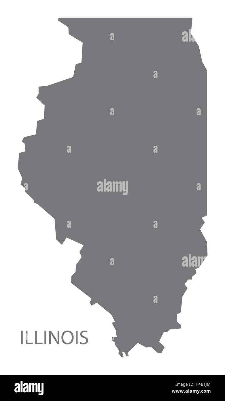 Illinois USA Map in grey - Stock Vector