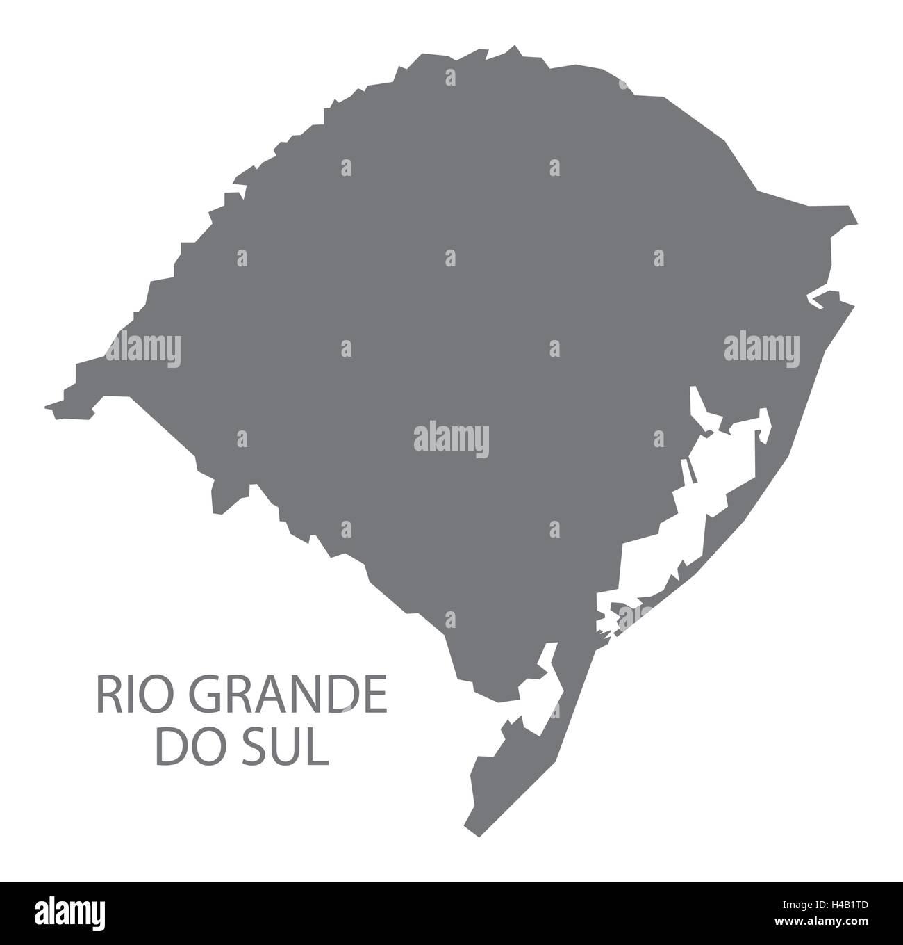 Rio Grande do sul Brazil map in grey. Stock Vector