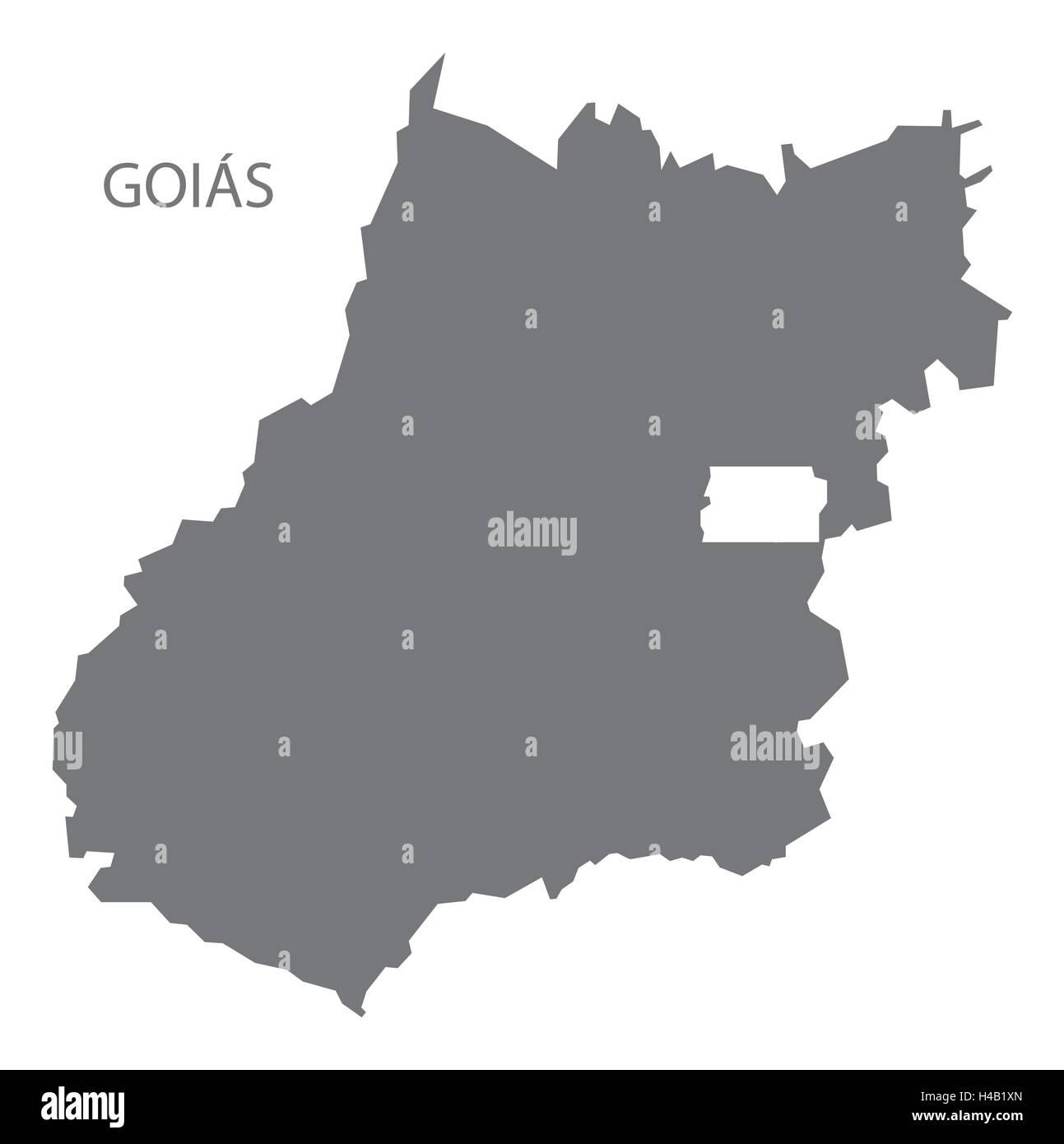 Goias Brazil map in grey. - Stock Image