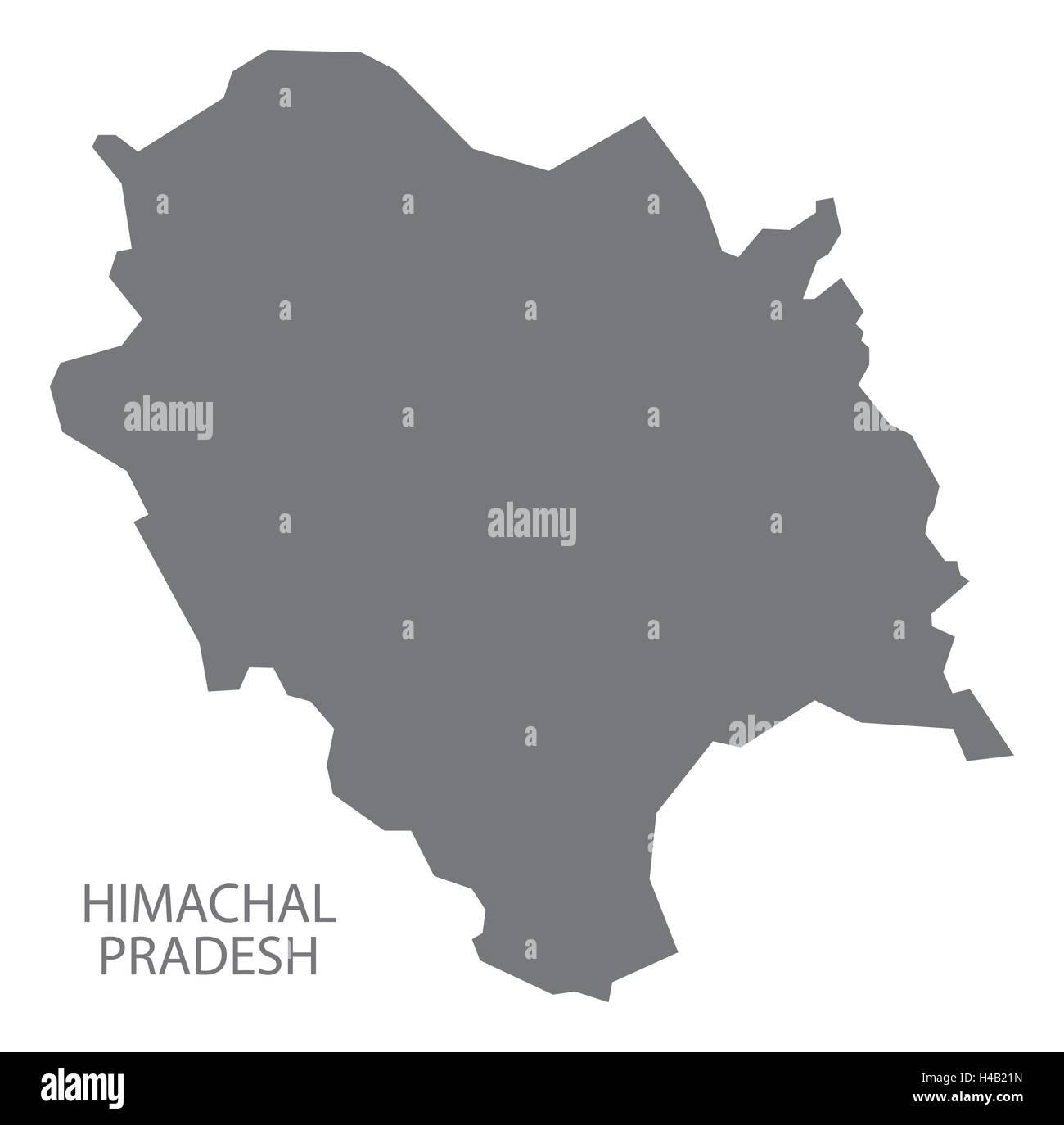 Himachal Pradesh india grey map illustration - Stock Vector