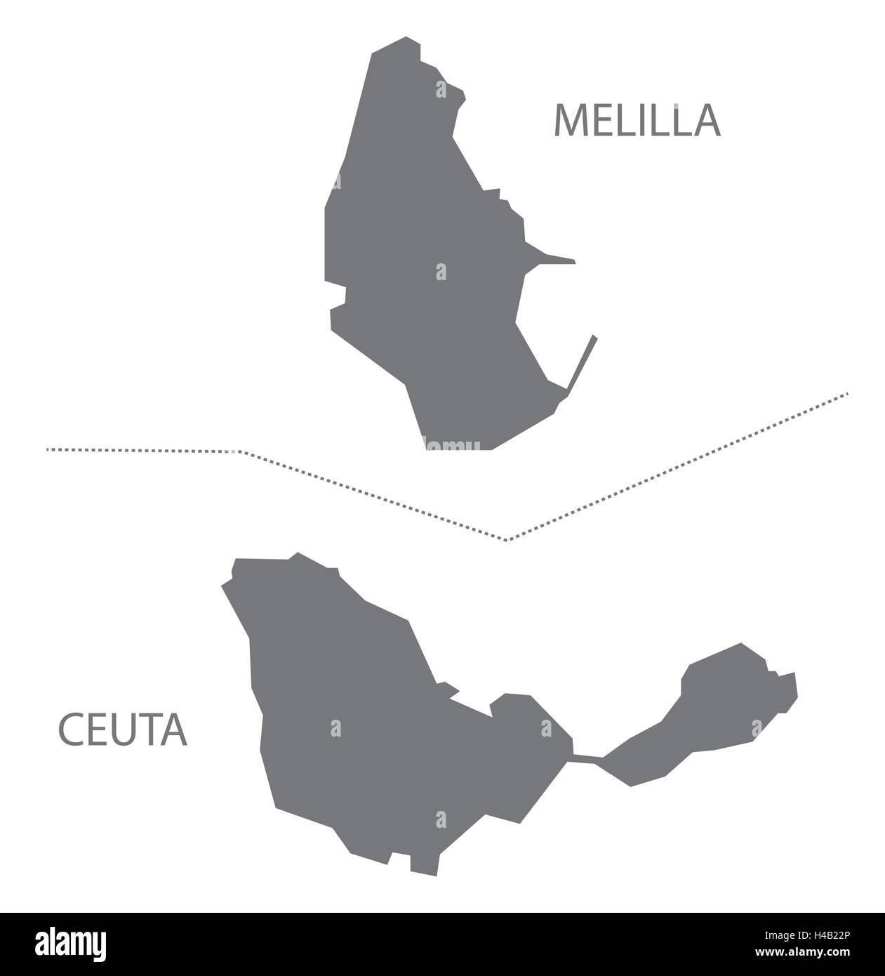 Melilla Spain Map.Melilla And Ceuta Spain Map In Grey Stock Vector Art Illustration