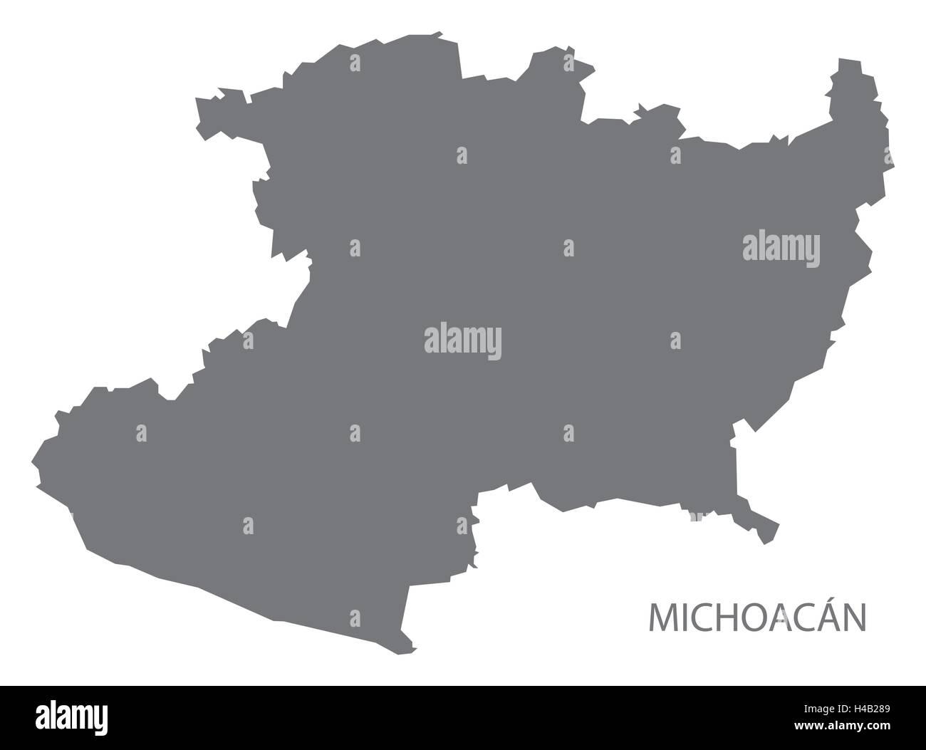 Michoacan Mexico Map grey Stock Vector Art & Illustration, Vector ...