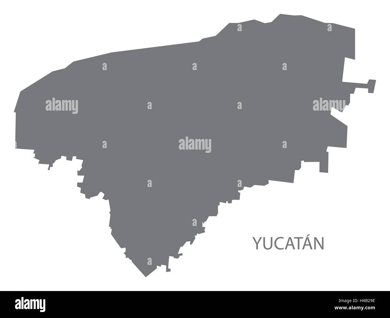 Yucatan Mexico Map grey - Stock Image