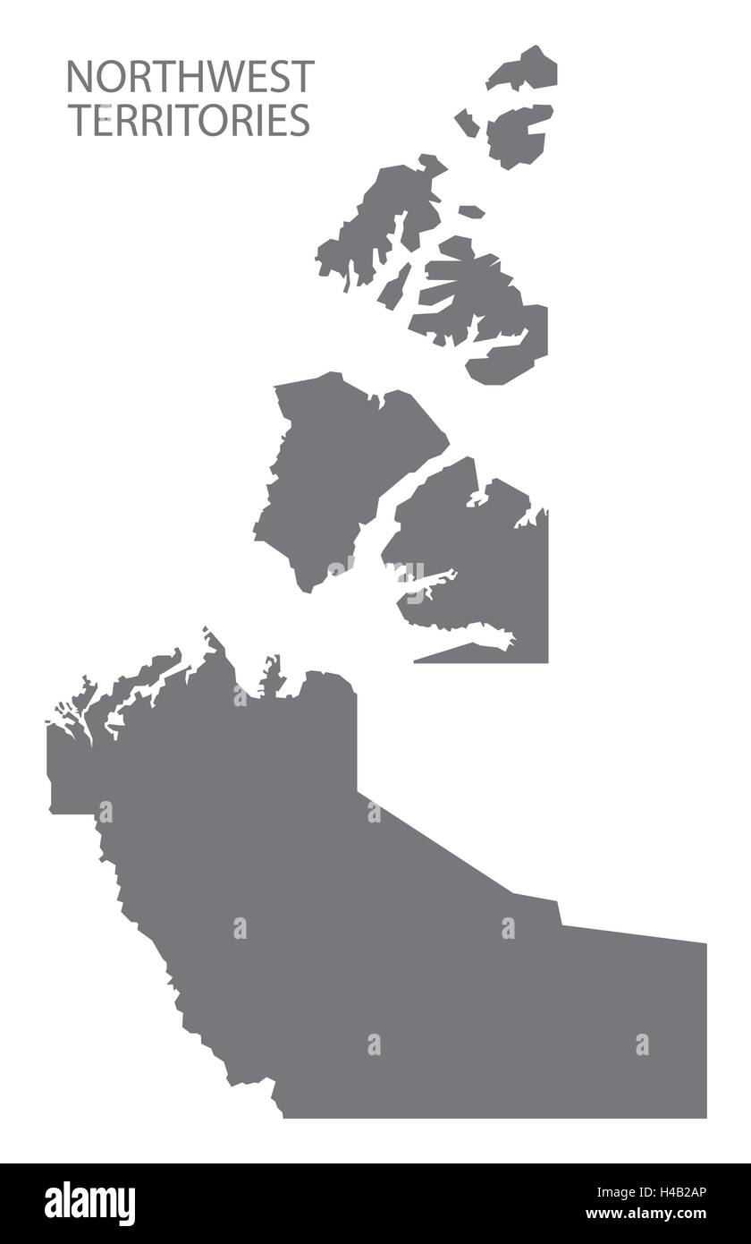 northwest territories canada map in grey