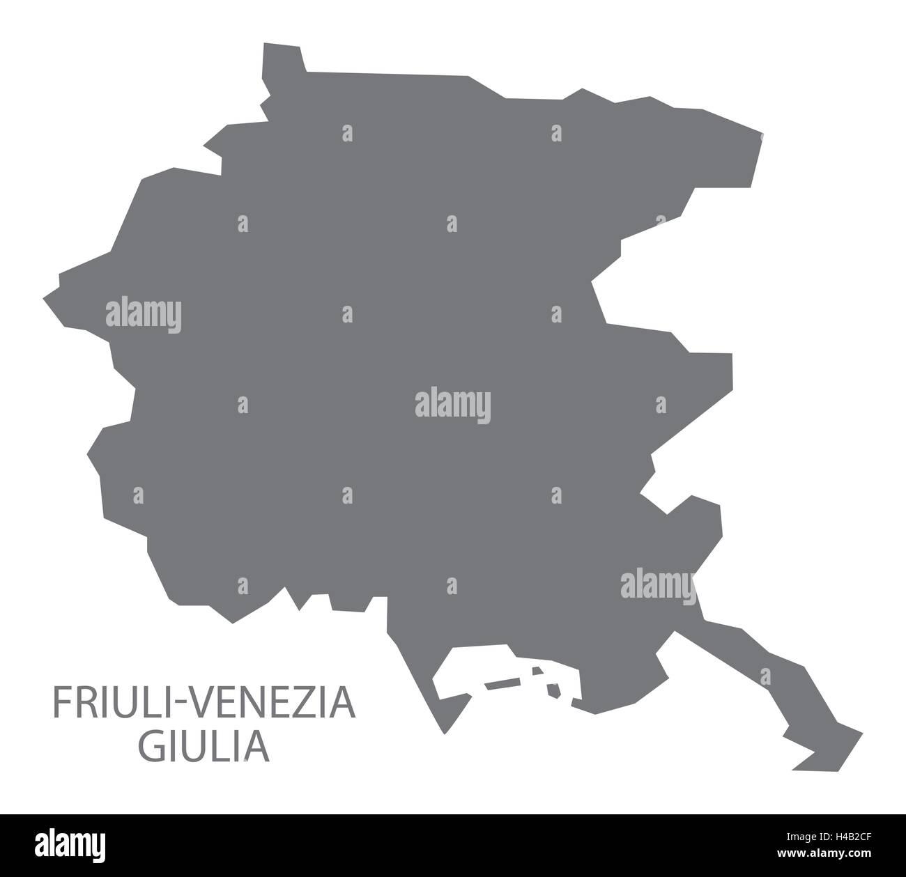 FriuliVenezia Giulia Italy Map in grey Stock Vector Art