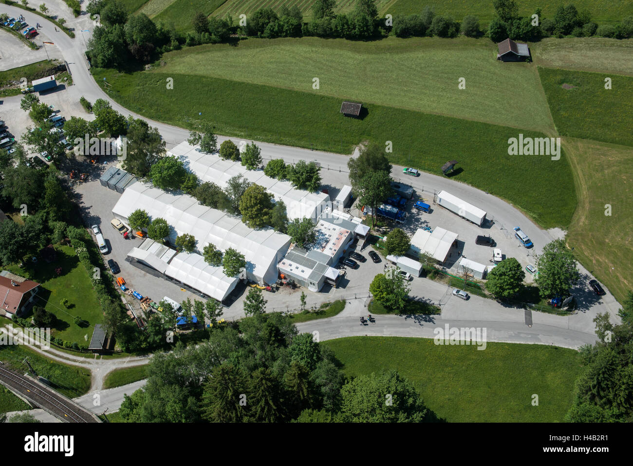 G7 summit 2015 on castle Elmau, Garmisch-Partenkirchen, resupply station of the police, Kreuzeck parking lot, Osterfeld - Stock Image