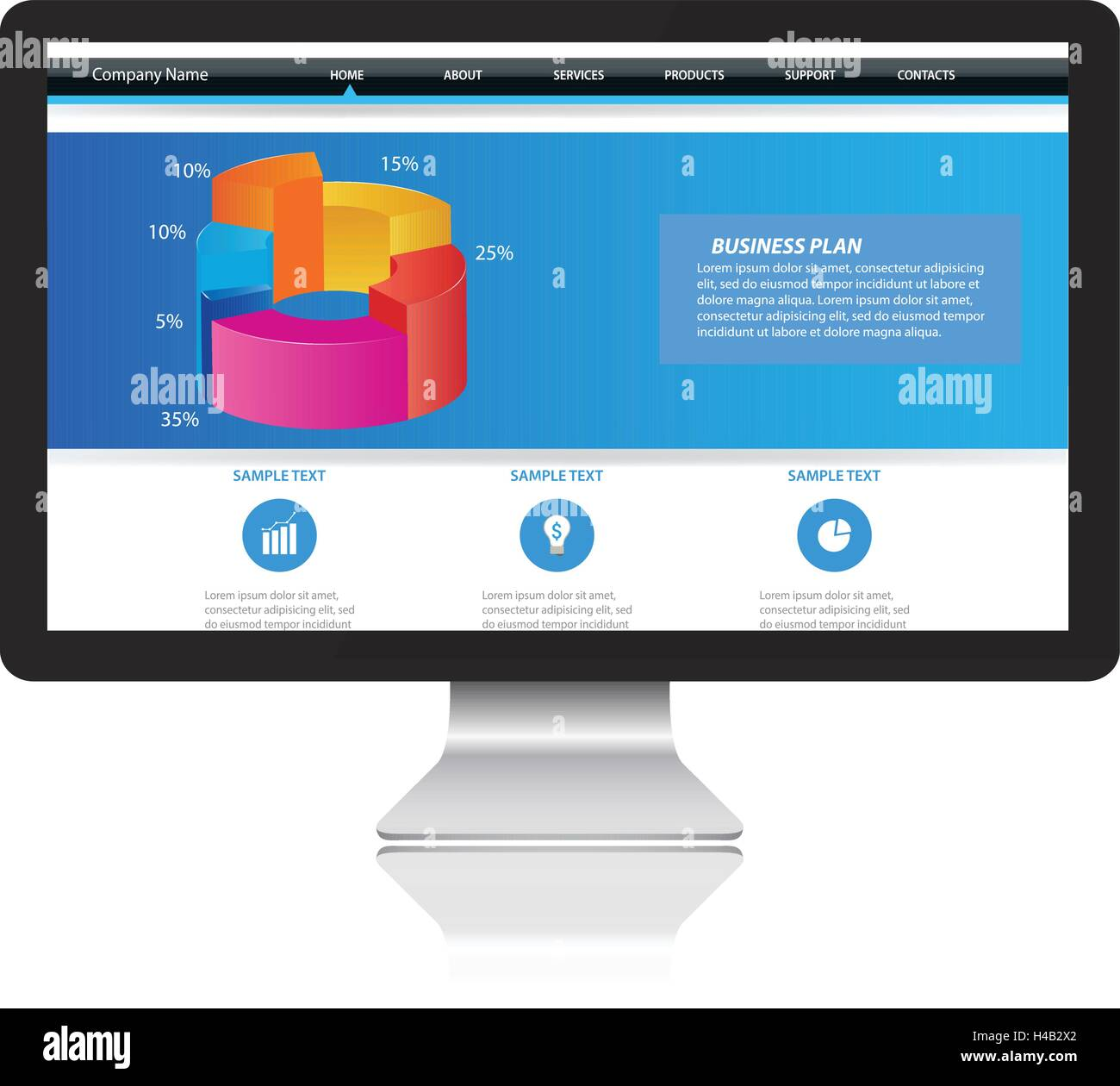 Responsive website template on Modern Computer monitor - Stock Image