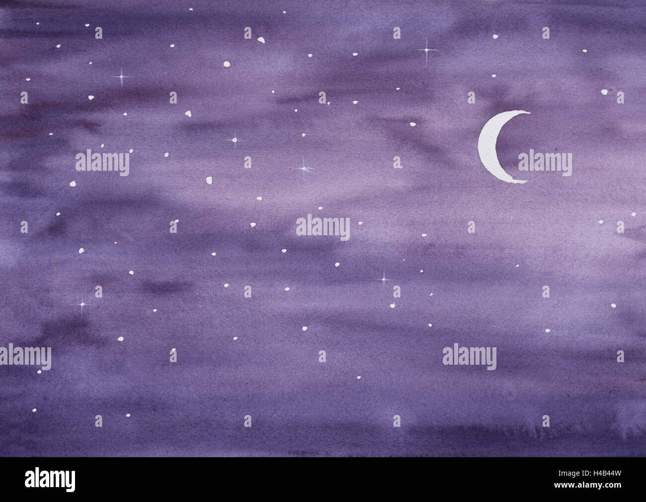 Evening sky with crescent and stars - Stock Image