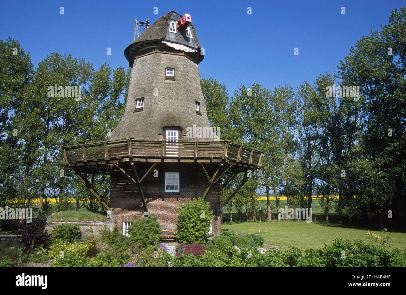 Germany, Schleswig - Holstein, peninsula Eiderstedt, cooking thing, windmill, 'Fortuna', spring, north frieze - Stock Image