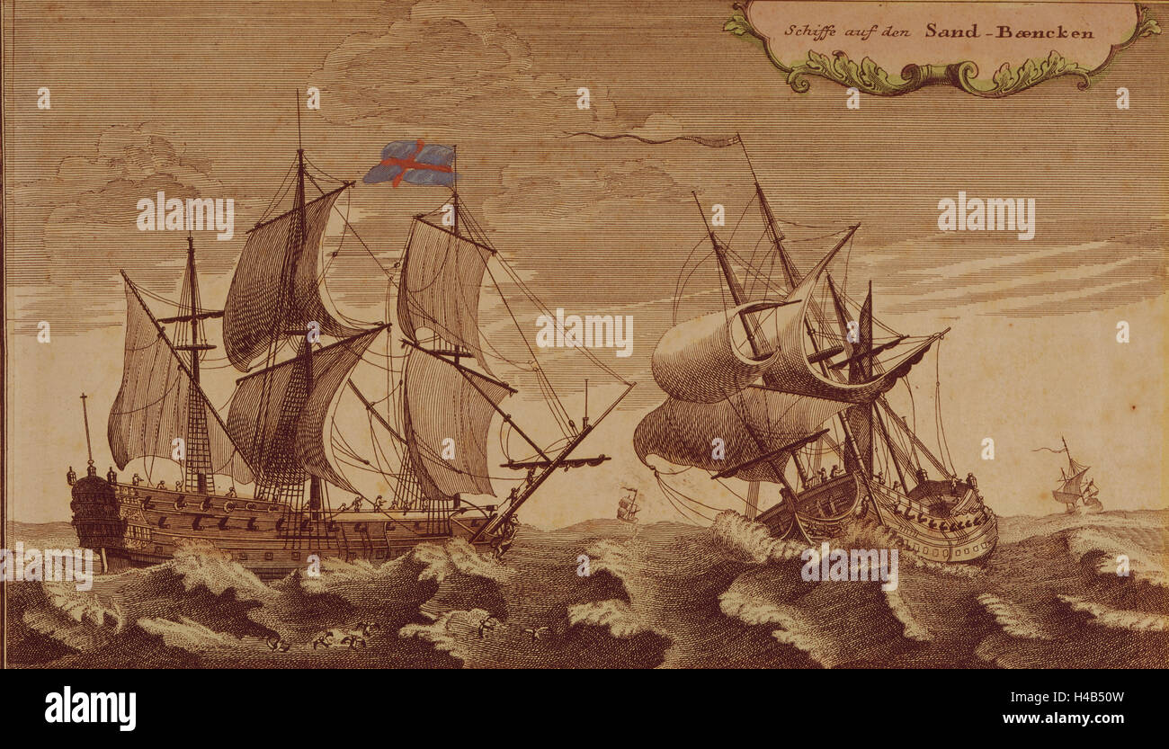 Art, copperplate, colourized, sailing ships, 1720-1750, - Stock Image