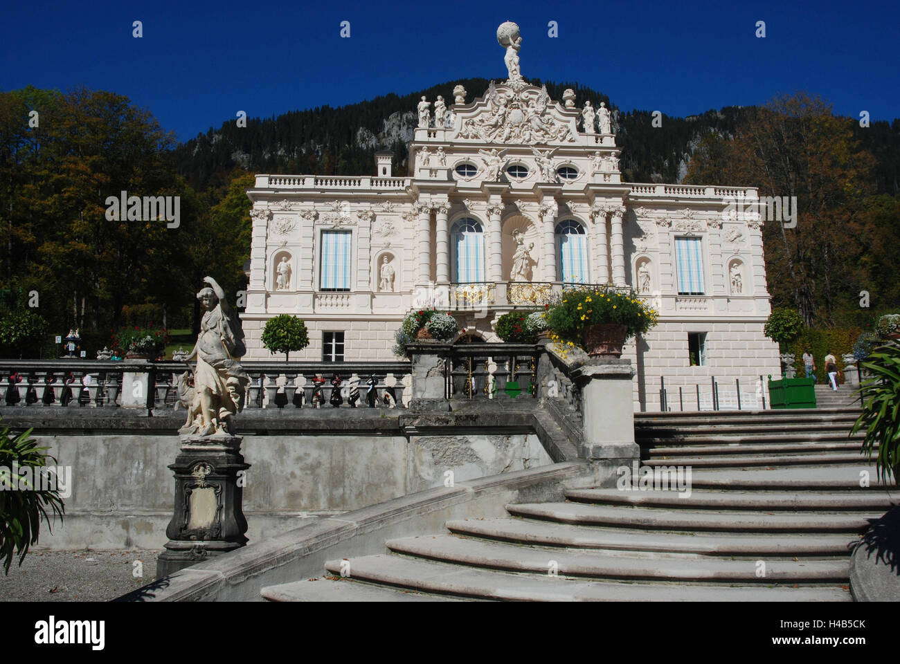 Germany, Bavaria, lock, gentle court, stairs rising, autumn, Upper Bavaria, castle building, royal castle, castle - Stock Image