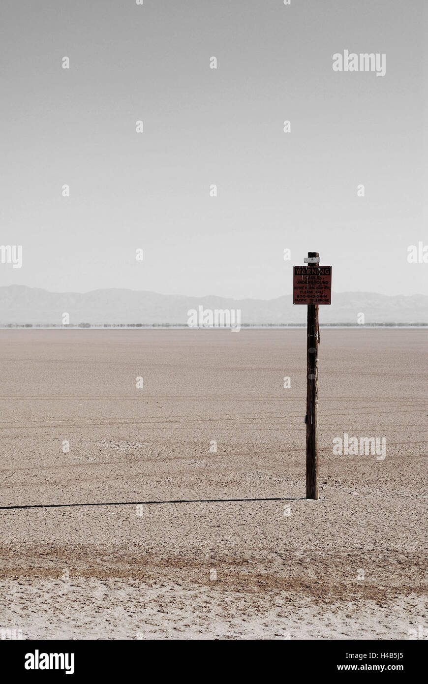 USA, California, Salt Lake, dried out, sign, - Stock Image