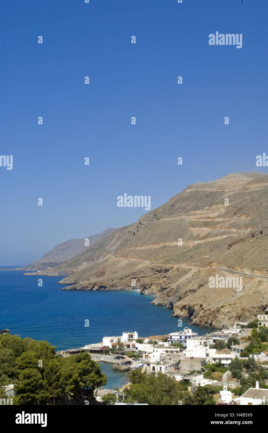 Greece, Crete, Chora Sfakion lies picturesquely on the foot the mountains Sfakia, - Stock Image