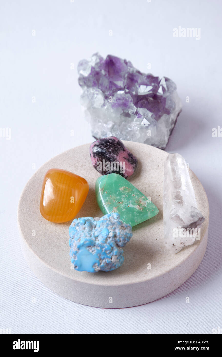 Precious stone therapy, alternative cure, remedial stones, - Stock Image