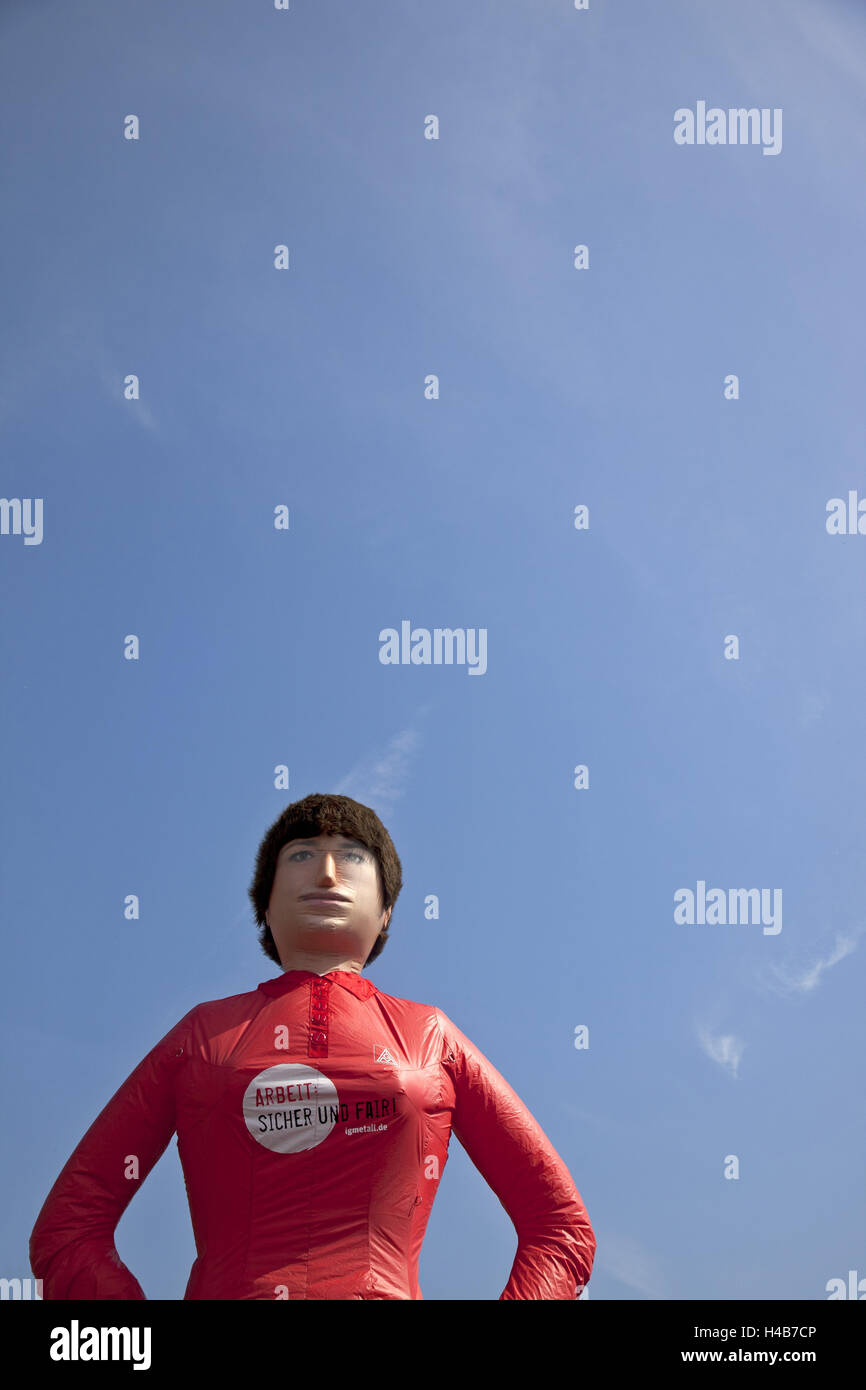Demonstration, labour dispute, doll, pneumatically, - Stock Image