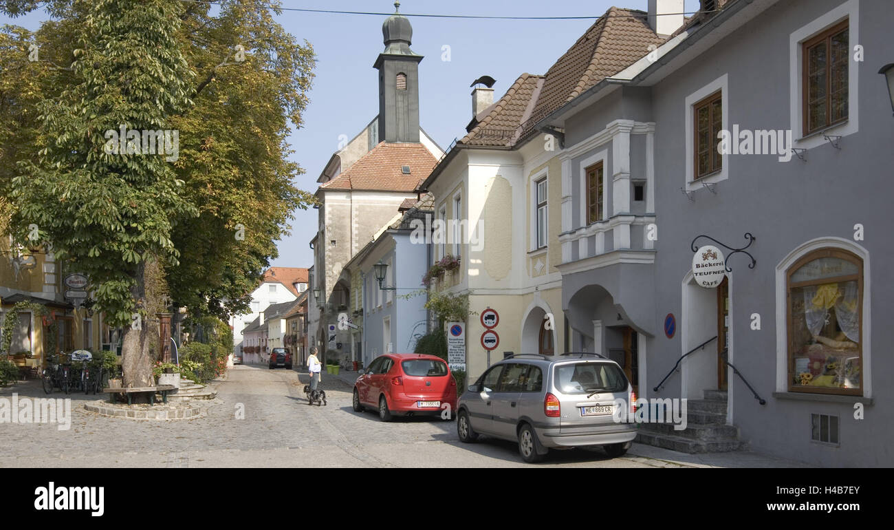 Historical core of village Emmers on the Danube, - Stock Image