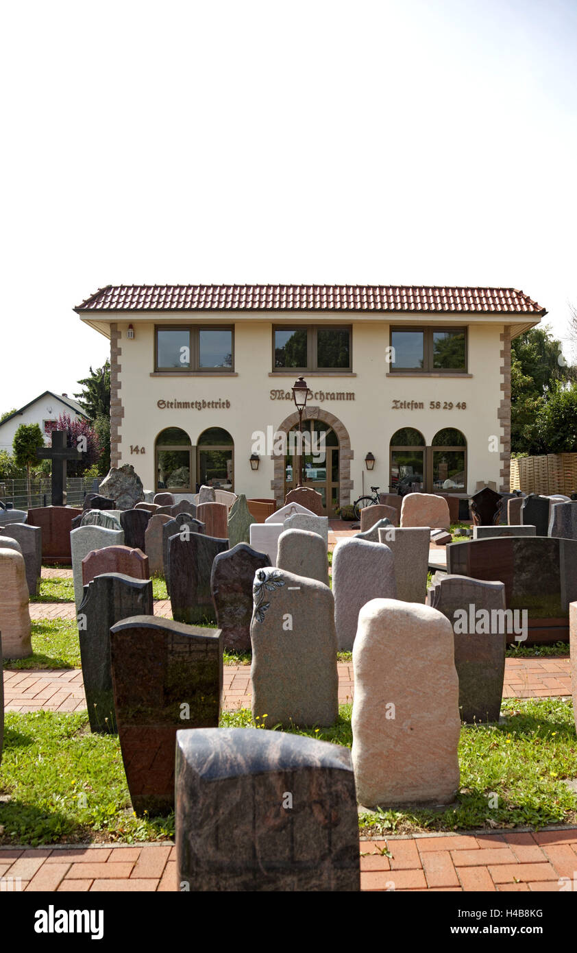 House, stonecutter, tombstones, summer, - Stock Image