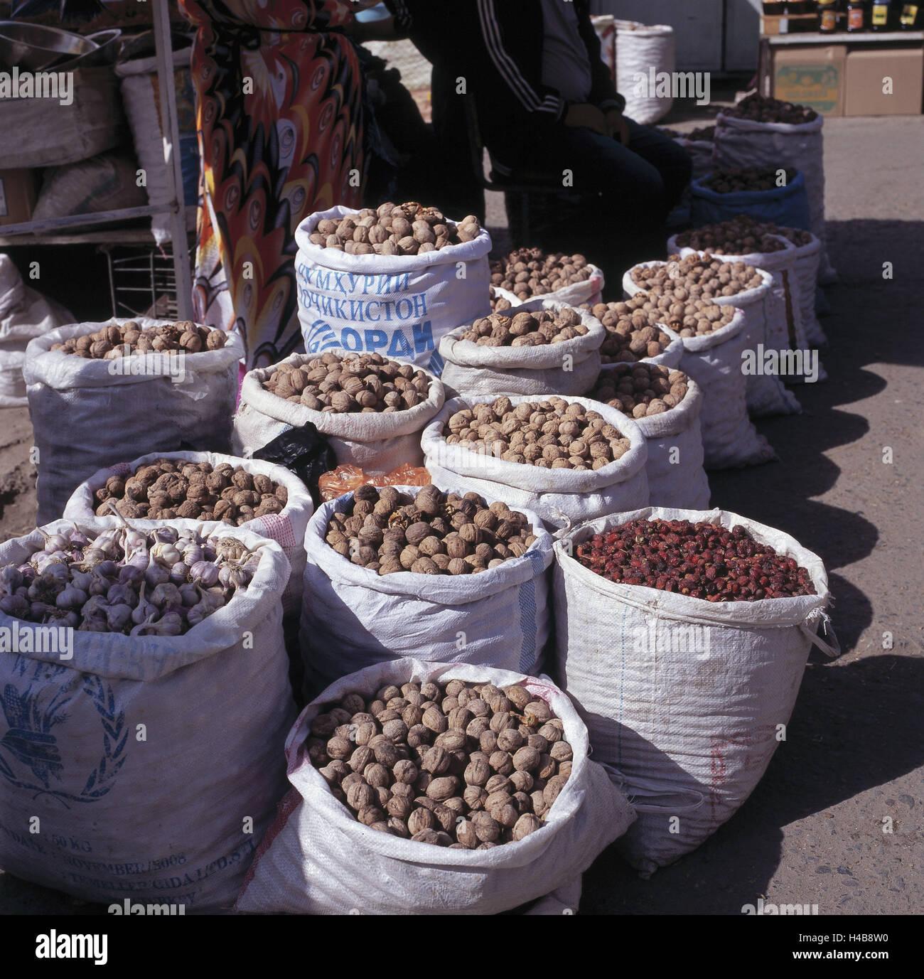 Tajikistan, Duschanbe, market, sacks with nuts, - Stock Image