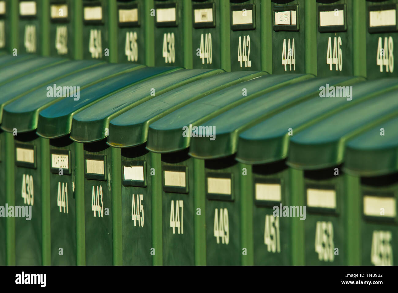 Mailboxes of summer cottages in Tylösand, Sweden - Stock Image