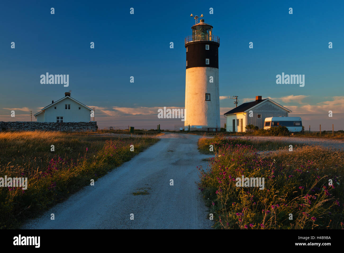 Lighthouse Hoburgen at the south point of the Gotland Island, Sweden - Stock Image