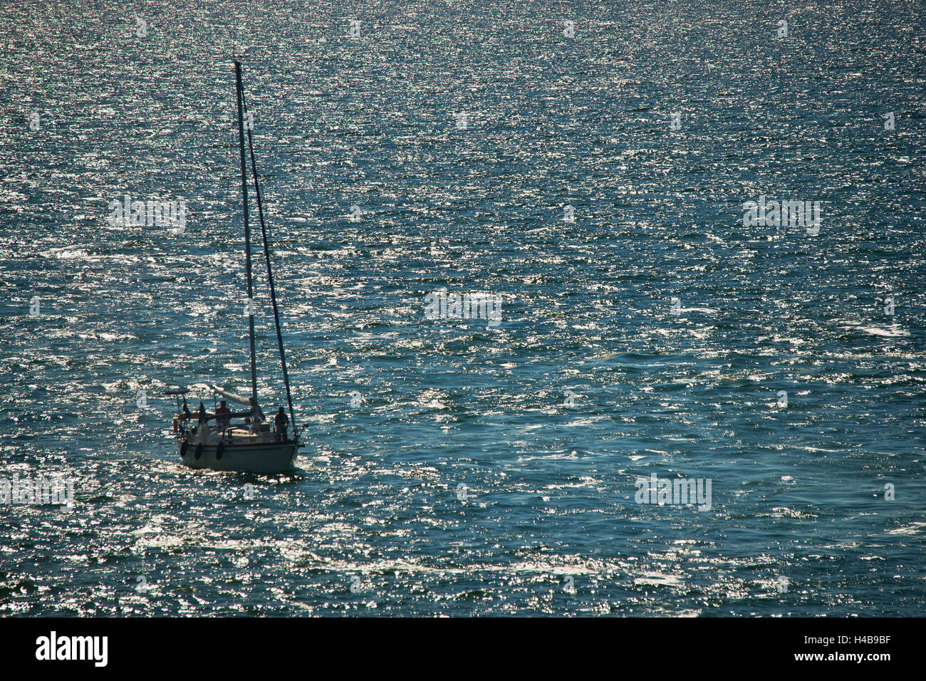 Yachtsman in front of the Gotland Island, Sweden - Stock Image