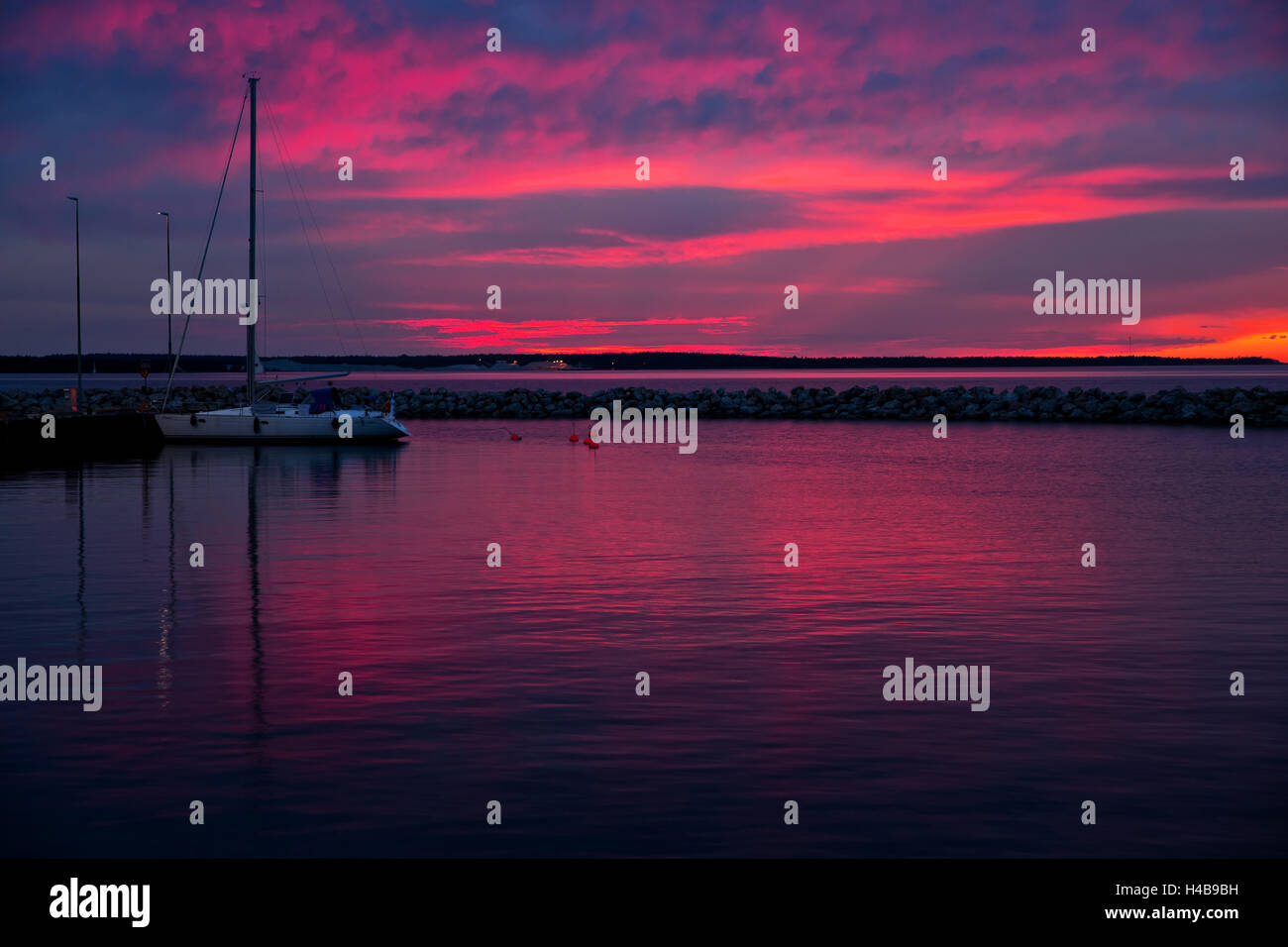 Evening mood in Farösund, Gotland Island, Sweden - Stock Image