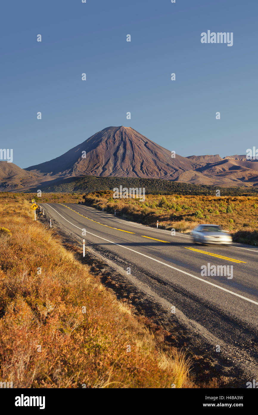 State highway Number 1, Mount Ngauruhoe, Tongariro National Park, Manawatu-Manganui, north Island, New Zealand - Stock Image