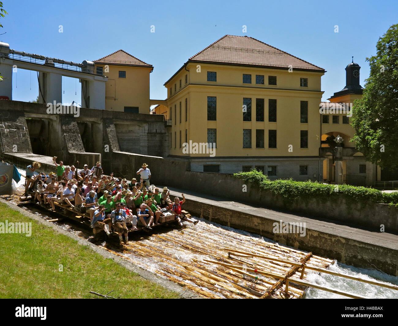 Germany, Upper Bavaria, river Isar, raft trip near Wolfratshausen - Stock Image