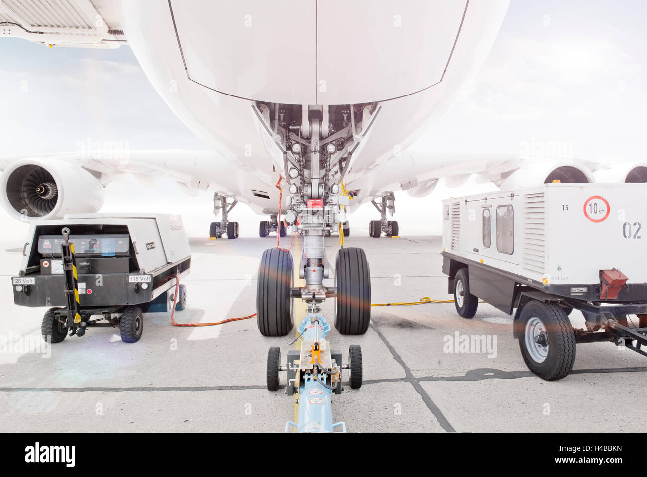 [M], airbus A380, airplane, undercarriage, airport, - Stock Image