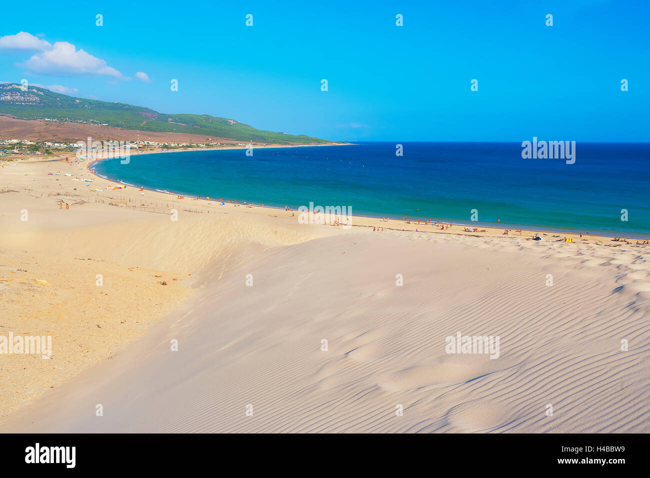 Bolonia beach and sand dune, Bolonia, Cadiz Province, Costa de la Luz, Andalusia, Spain Stock Photo