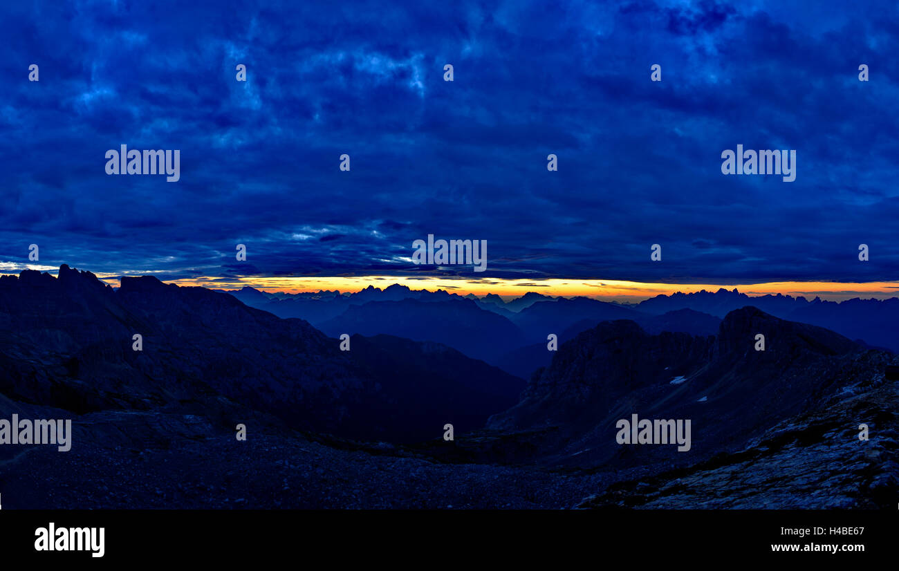 Dolomites panorama at the blue hour - Stock Image