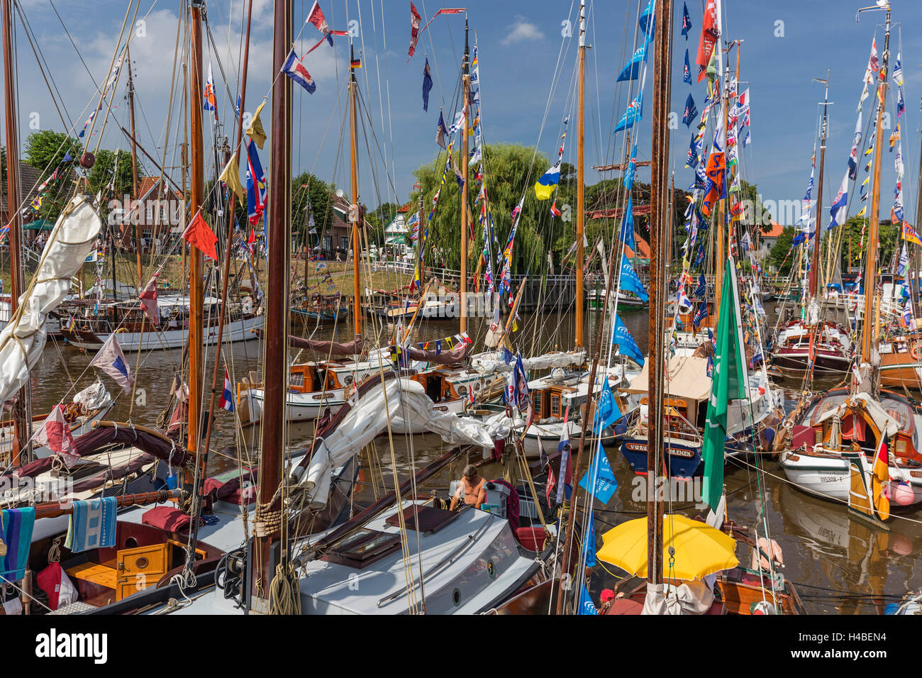 Wattensail, traditional ship gathering, detail, decorated flat bottom sailship in the museum harbour of Carolinensiel, - Stock Image