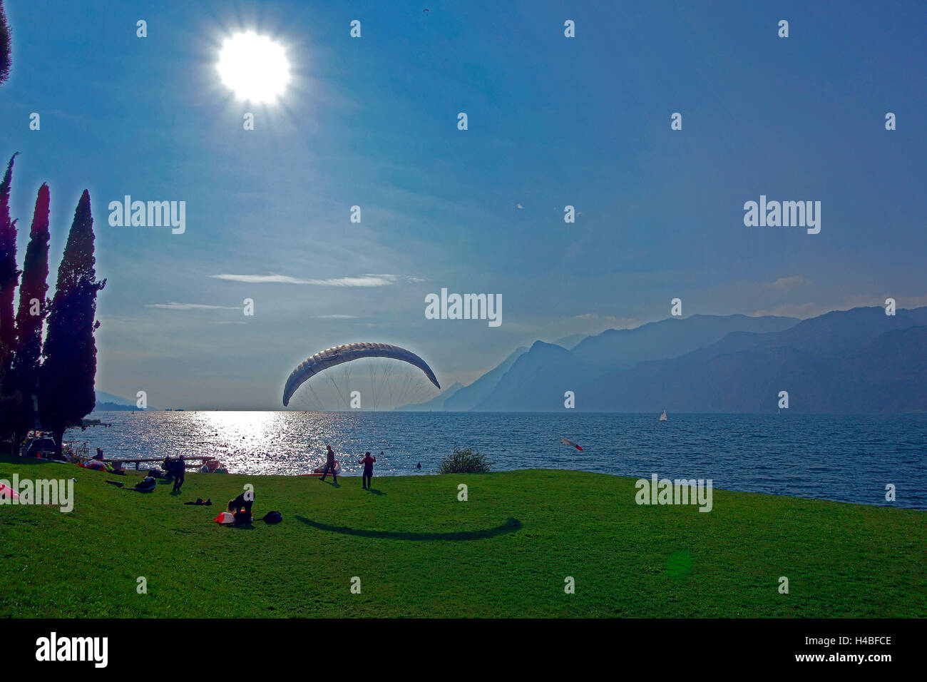 Lake Garda, paraglider Stock Photo