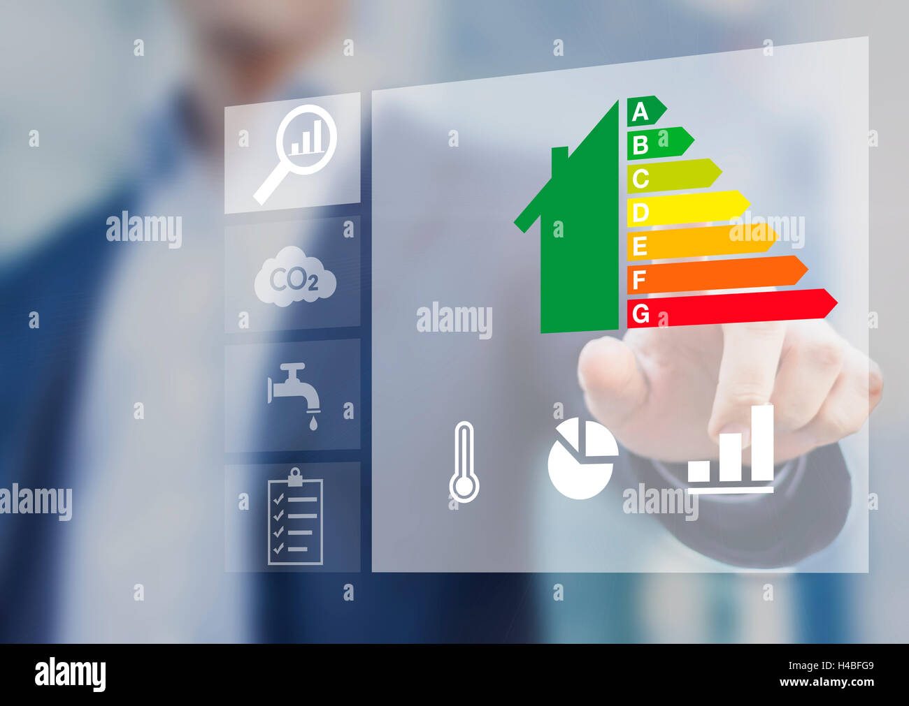 Energy efficiency rating of buildings for sustainable development - Stock Image