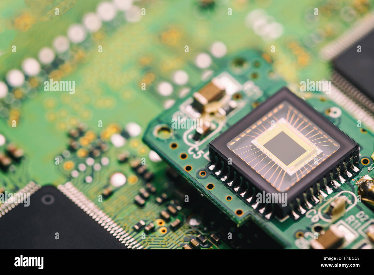 Concept of technology and future, microchip interconnected - Stock Image