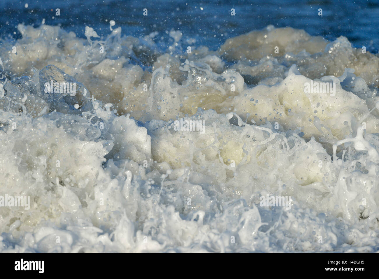 Troubled Sea Water on Beach, Helgoland, Dune, North Sea, Island, Schleswig Holstein, Germany - Stock Image