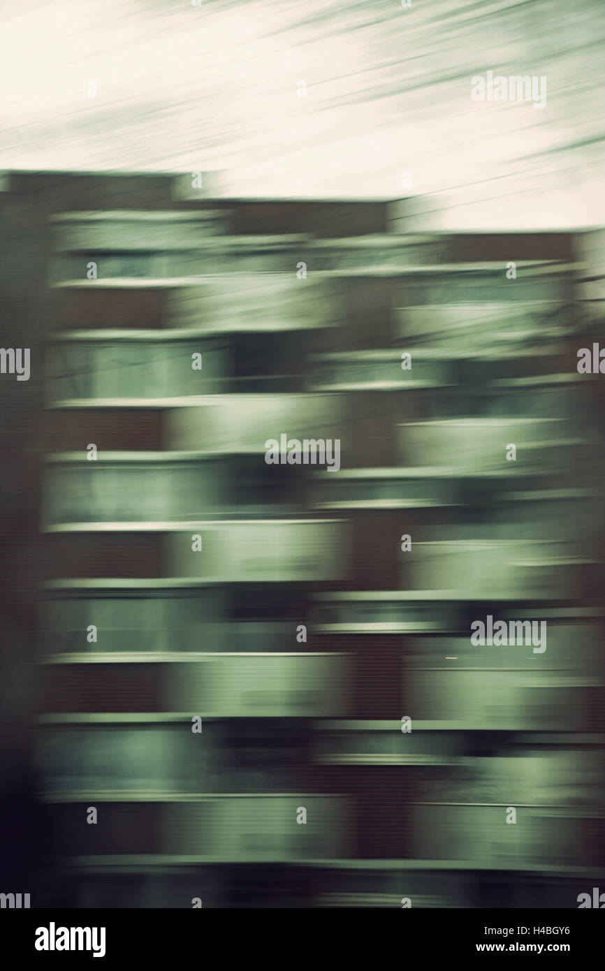 House, facade, balconies, blurred, vague, dull, grey, - Stock Image