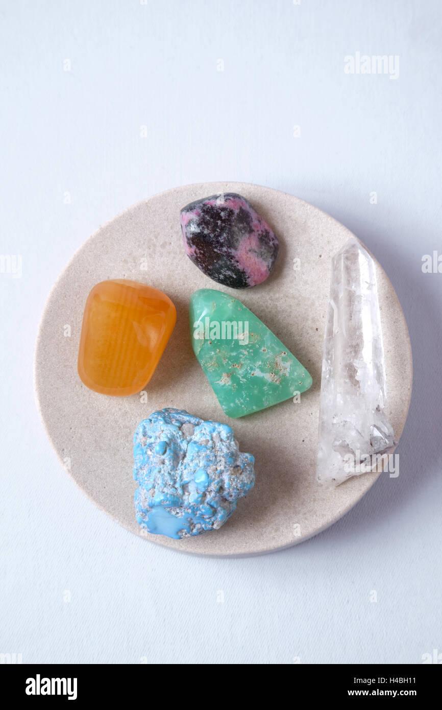 Precious stone therapy, alternative cure, remedial stones, - Stock Image