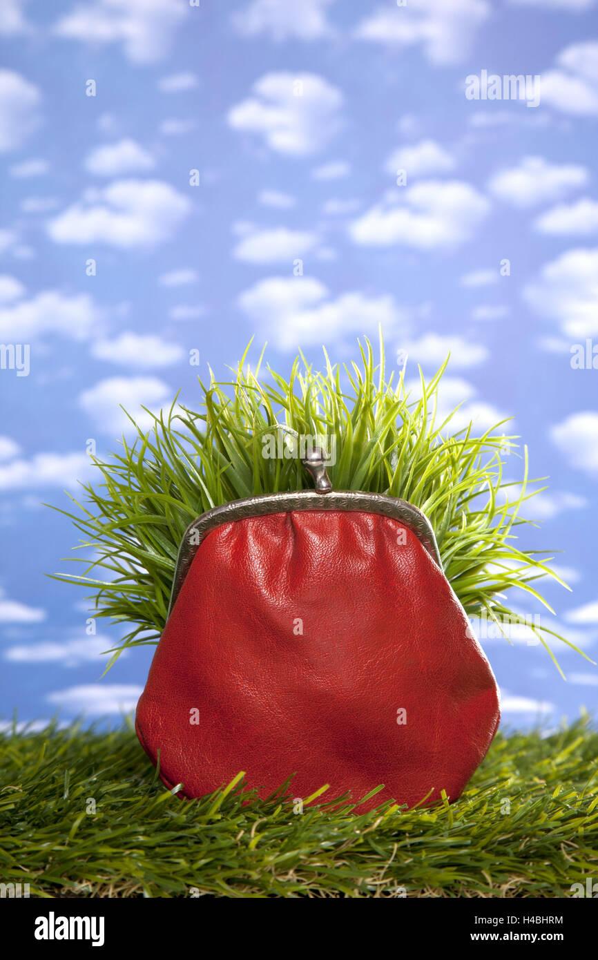Symbolical image, saving, money, purse, eco-friendly, - Stock Image