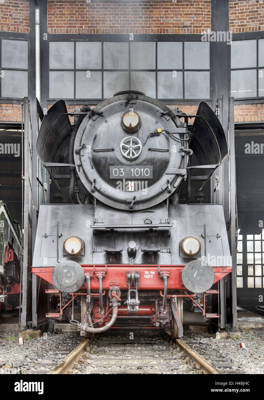 Locomotive, engine shed, frontal view, - Stock Image