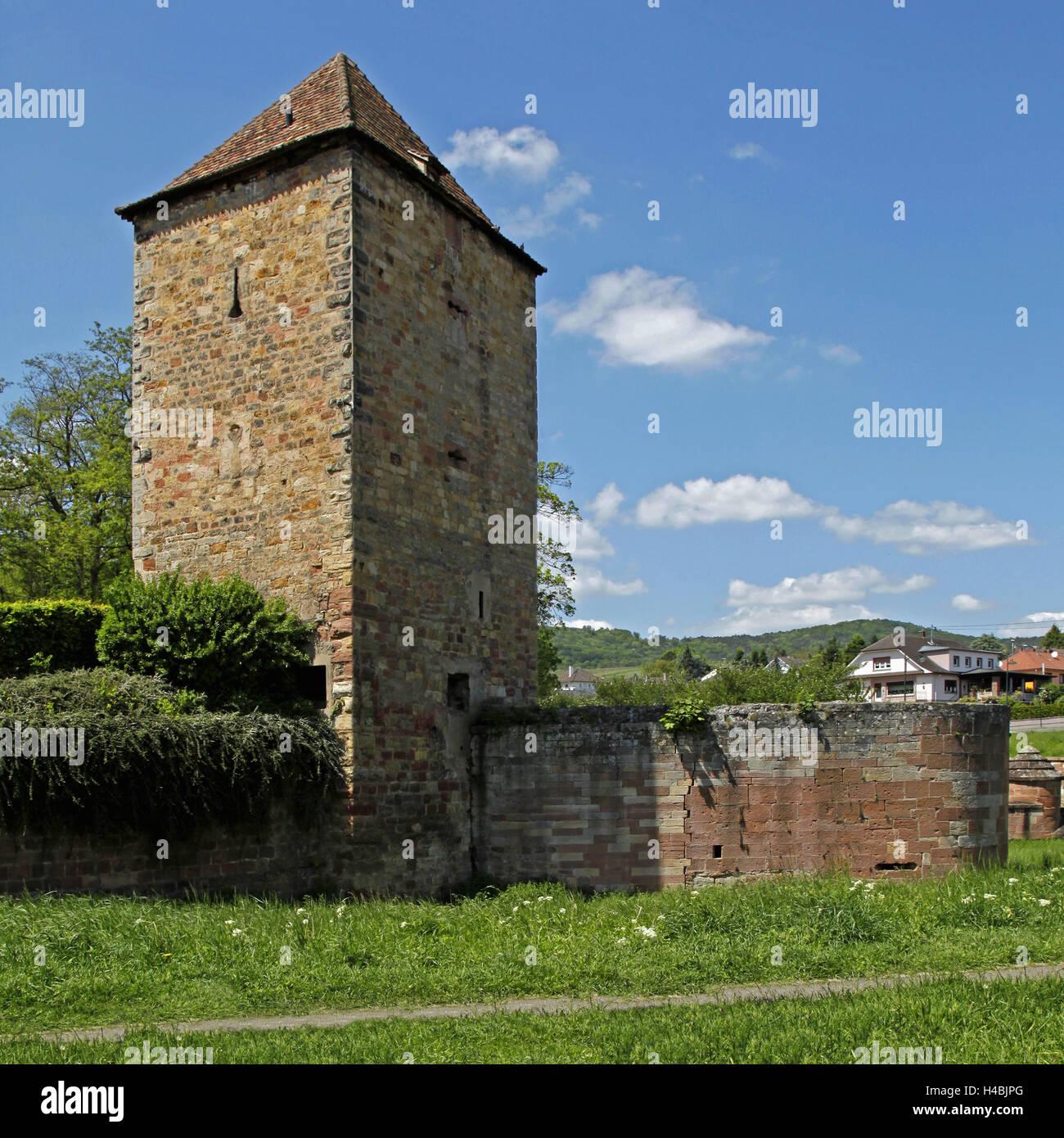 France, Alsace, Wissembourg, white castle, white castle, powder tower, 13. Jhd., bulwark, Remparts, tour de la Poudrière, - Stock Image