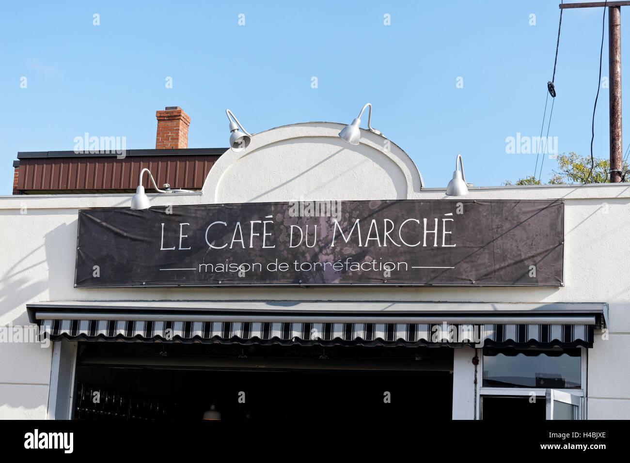 The Cafe de la Marche next to the Jean Talon Market, Montreal, Quebec, Canada - Stock Image