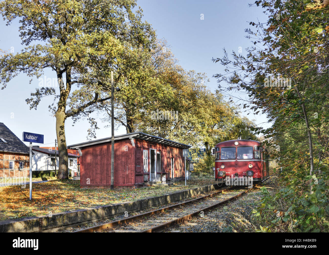 Railroad line, stop, train, building, trees, Kuhbier, Brandenburg, Germany, - Stock Image