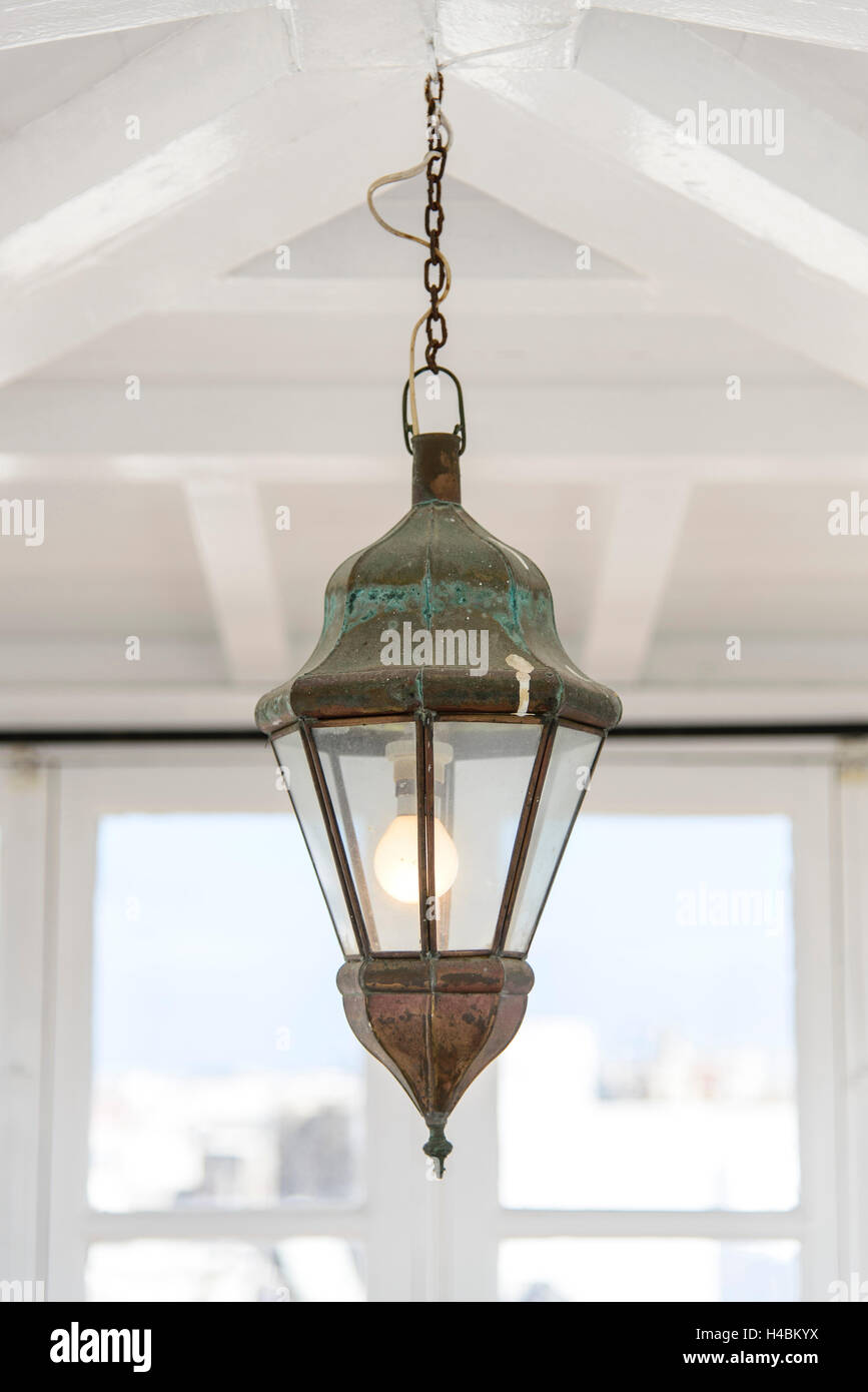 Africa, Morocco, Essaouira, iron lamp in a conservatory on a terrace in the medina, world cultural heritage, - Stock Image