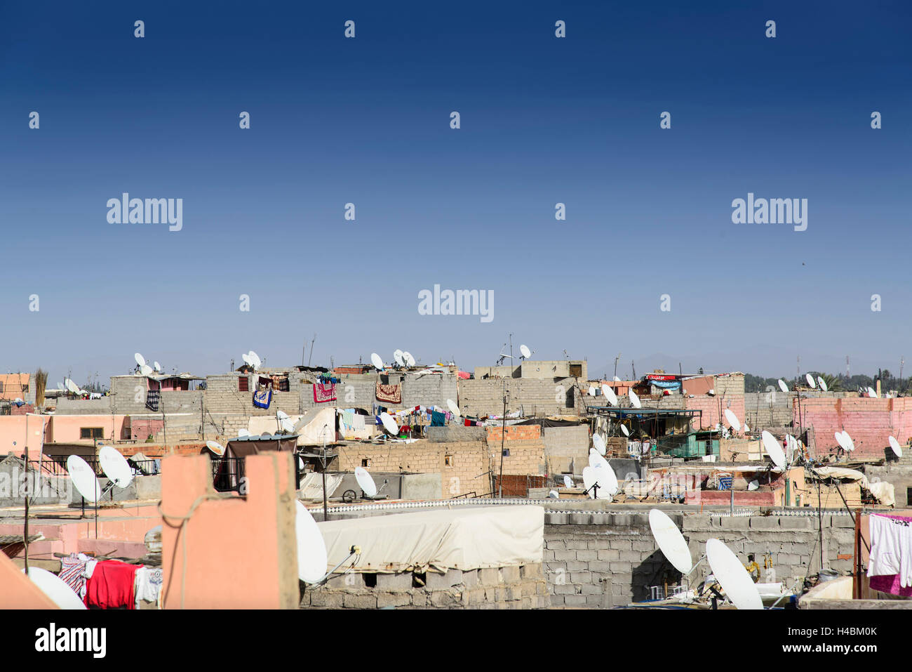 Africa, Morocco, Marrakech, view of Medina, satellite dishes, - Stock Image