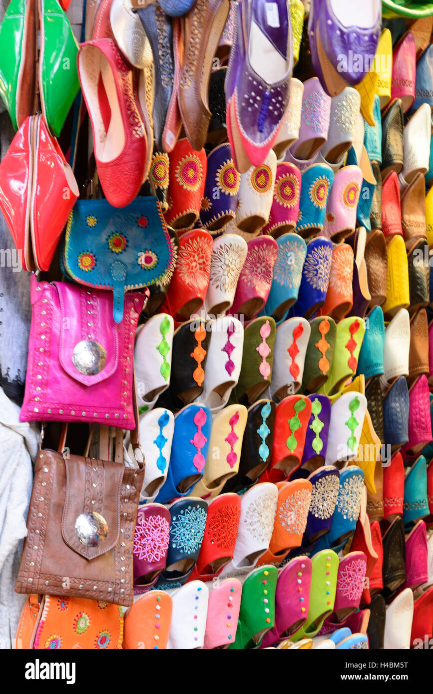 Africa, Morocco, Marrakech, Souks, leather goods, - Stock Image