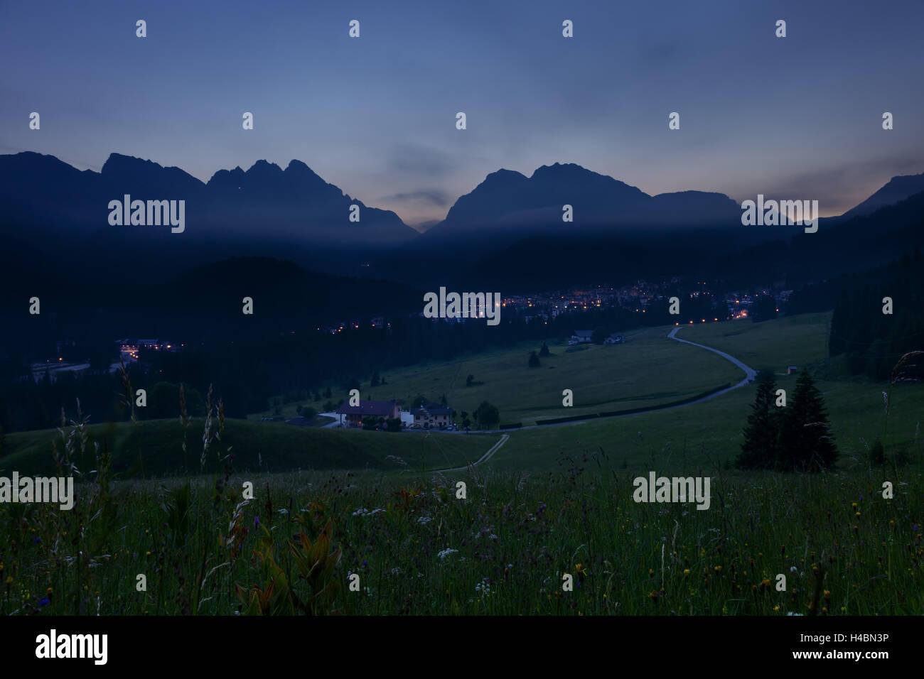 San Martino di Castrozza, evening, meadow, view, mountain range, Forcella di Ceremana, Italy Stock Photo