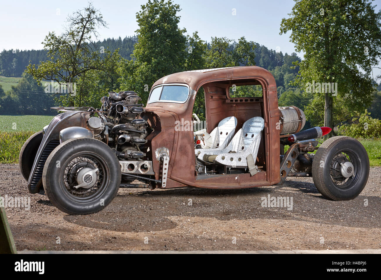 Hot-Rod, Rat-Rod, self-built with airplane radial engine Stock Photo ...