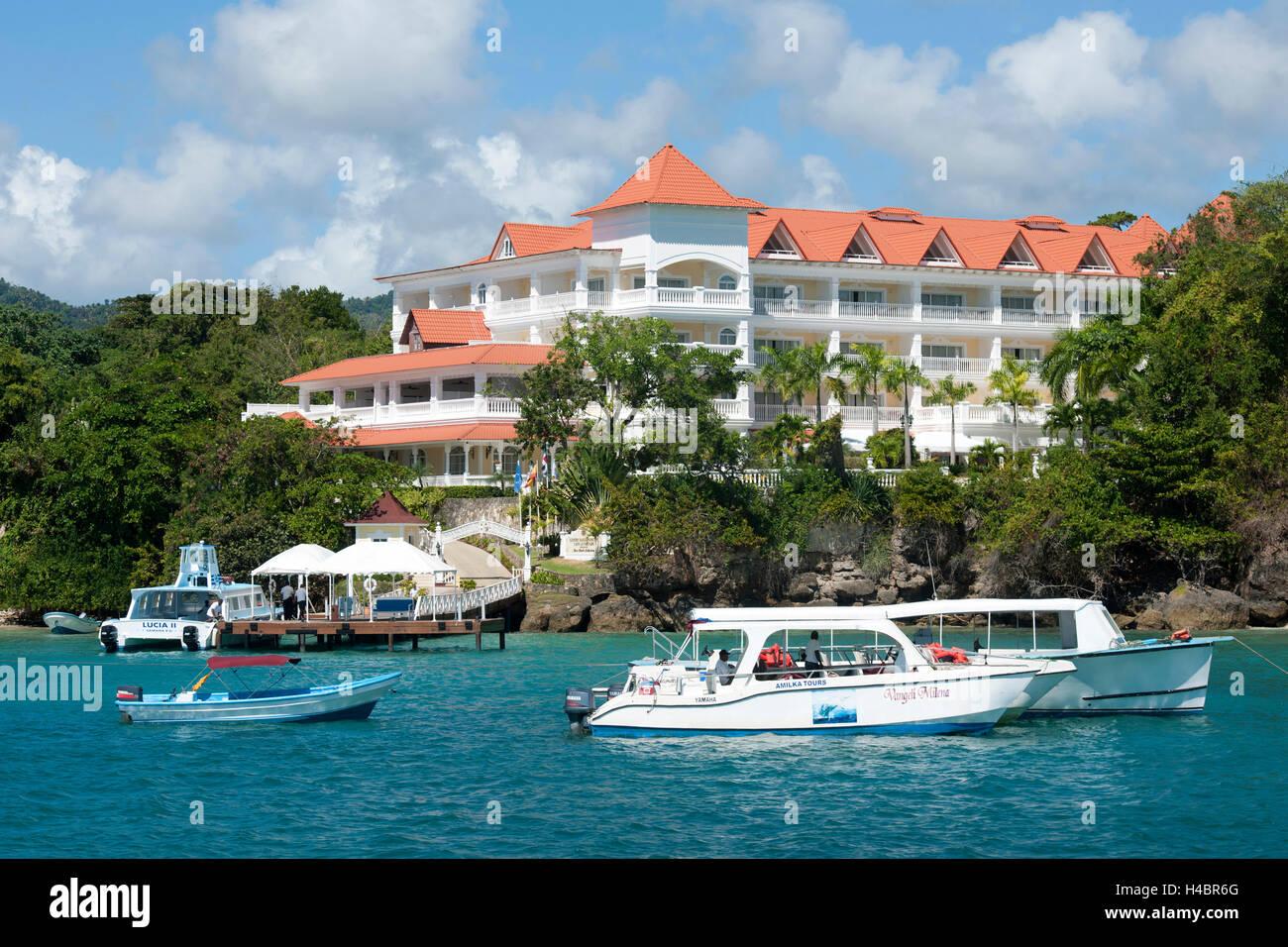 The Dominican Republic, peninsula Samana, Santa Barbara de Samana, island Cayo Levantado (Bacardi island), hotel - Stock Image